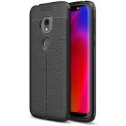 Mobigear Litchi TPU Hoesje Zwart Motorola Moto G7 Play