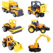 Cltoyvers 6 Pcs Mini Metal Construction Vehicle Toys Set for Kids - Forklift, Bulldozer, Road Roller, Excavator, Dump Truck, Tractor