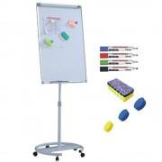 Flipchart mobil, Premium, 70x100 cm, inaltime ajustabila + accesorii: markere, burete, magneti Aluminiu Flipchart Mobil (rotativ) 70x100 cm