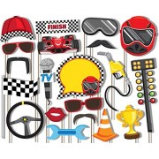 Race Car Racing Photo Booth Props Kit - 20 Pack Party Camera Props Fully Assembled