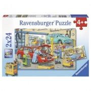 Puzzle vulcanizare si benzinarie, 2x24 piese Ravensburger