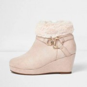 River Island Girls Pink faux fur top wedged ankle boot