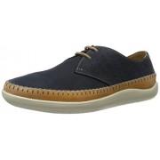Clarks Men's Veho Flow Blue Leather Designer Clogs & Mules - 8 UK/India (42 EU)
