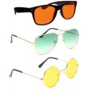 Elligator Aviator, Wayfarer, Round Sunglasses(Orange, Green, Yellow)