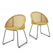 Sandra - 2 chaises métal et corde indoor/outdoor - Couleur - Jaune