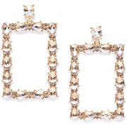 Jewels Galaxy Stylish Rectangle Shaped Crystal Gold Plated Fabulous Dangler Earrings For Women/Girls