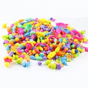 Coxeer 165Pcs Snap Beads Girls Toy Creative DIY Jewelry Making Bead Toy Pop Bead for Bracelet Necklace One Size Multicolor