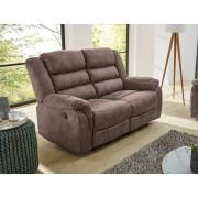 Lifestyle4Living 2er Sofa in grau/braunem Stoff bezogen mit Liegefunktion, Maße: B/H/T ca. 167/103/90 cm