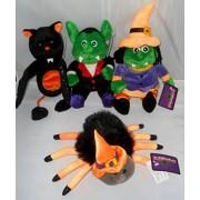 Halloween Bean Bag Plush: Witch, Spider, Bat, Vampire Set of 4