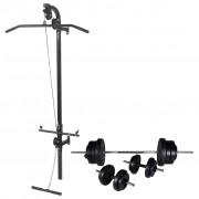 vidaXL falra szerelhető edzőtorony súlyzókészlettel 60,5 kg