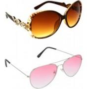 Hrinkar Over-sized Sunglasses(Brown, Red)
