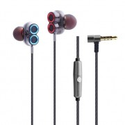 MW-508 L Shape 3.5mm Double Moving Coil Wired Control Bass Gaming Earphone - Grey