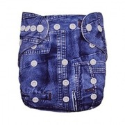 Tinytots Reusable Nappy washable Chemical free leak free Pocket Cloth Diaper - JEANS print with microfiber insert