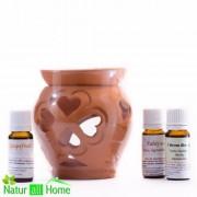 Candelă de aromaterapie și 3x10 ml uleiuri esențiale: Scorțișoară, GRAPEFRUIT și Lămâie