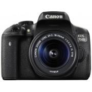 Digitale spiegelreflexcamera Canon EOS 750D Incl. EF-S 18-55 mm IS STM lens 24.2 Mpix Zwart Flitsschoen, Draai- en zwenkbare display, Elektronische zoeker,