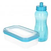 Merkloos Blauwe lunchbox en drinkfles 0,5L
