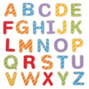 Set litere magnetice de tipar, 49 piese din lemn, 3 ani+