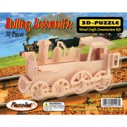 Puzzled Rolling Locomotive 3D Natural Wood Puzzle
