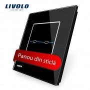 Panou intrerupator dublu cu touch Livolo din sticla - Seria R, negru