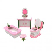 Miniature Dollhouse Furniture Set Traditional Wooden Family Toys for Kids (Bathroom)