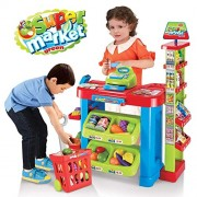 crazy toys Supermarket Play Set with Toy Cart, Cash Register, Checkout Counter, Working Scanner, Food (Multicolour) by Babytintin