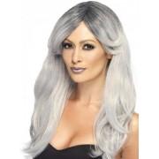 Peluca larga con flequillo desfilado gris mujer Talla única