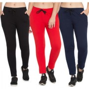 Cliths Women's Pack of 3 Black Red And Navy Blue Full Length Cotton Stylish Solid Joggers for Everyday