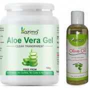 KAZIMA Aloe Vera Gel Raw (500 Gram) and Olive oil 100ml - 100% Pure Natural Raw Combo Pack - Ideal for Skin Treatment Dark Circles Face Hair Treatment