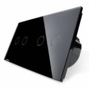 Intrerupator dublu + dublu cu touch Wireless Livolo din sticla Negru
