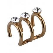 Ear Cuff med Tre Stenar – Guld