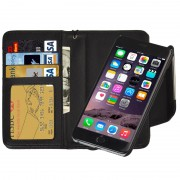 2 in 1 Separable Wallet Style Magnetic Flip PU Leather Case with Lanyard for iPhone 6 Plus & 6S Plus(Black)