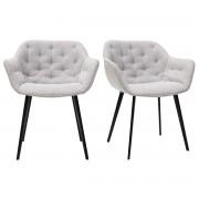 Miliboo Design-Stühle aus hellgrauem Stoff Stuhlbeine aus schwarzem Metall (2er-Set) BUR