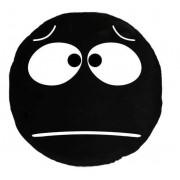 Soft Smiley Emoticon Black Round Cushion Pillow Stuffed Plush Toy Doll (Sad Eyes)