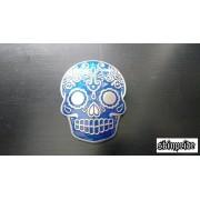 Hebilla calavera mexicana azul