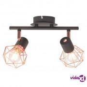 vidaXL Stropna svjetiljka s 2 reflektora E14 crno-bakrena