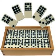 Premium Set of 55 Double Nine Dominoes with Wood Case brown