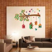 EJA Art Bird House on a Branch Wall Sticker (Material - PVC) (Pec - 1) With Free Set of 12 pec butterflies sticker