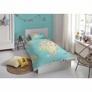 Good Morning Dekbedovertrek 5739-P World Map 140x200/220 cm meerkleurig