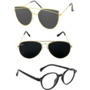 Rich Club Aviator, Cat-eye, Round Sunglasses(Black, Clear, Grey)