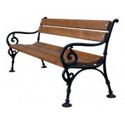 Parková lavice Vídeňská 180 cm s područkami, litina, olše, lakovaná - 180