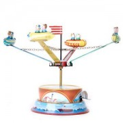 ELECTROPRIME Retro Wind Up Rotating Spacecraft Space Ship Merry Go Round Tin Toy Vintage