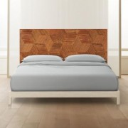 Roquette Rattan Headboard King + White Washed Wood Frame by CB2