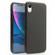 QIALINO Genuine Leather Coated PC Case for iPhone XR 6.1 inch - Black