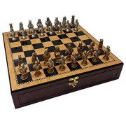 HPL Medieval Times Crusades Knight Chess Set Gold & Silver Busts W/ High Gloss Walnut & Birdseye Maple Color Storage Board 17""