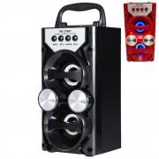Hordozható hangszóró Bluetooth multimédia lejátszó Led világítás akkumulátorral Mp3,FM-Rádió, 3,5 jack, USB, SD kártya 20x10cm - MS-209BT