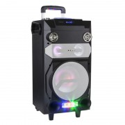 Sistem Audio Activ Portabil cu Telecomanda, Microfon, Radio FM, Player MP3, Bluetooth, AUX, USB, Card SD, Functie Karaoke si Iluminare LED RGB, Putere 30W