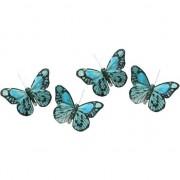 Decoris 4x Decoratie vlindertje mintgroen/blauw 9 x 14 cm op ijzerclip