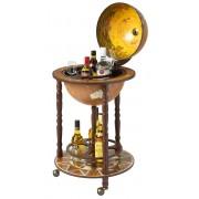 Brulo Wereldbol Globebar Pytheas - ⌀ 36 cm - Hout - Bruin - 4 flessen