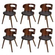 vidaXL Blagovaonske Stolice 6 kom od Umjetne Kože Smeđe
