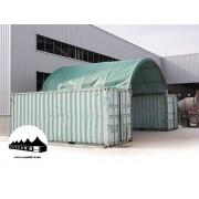 Konténer fedés 6x6m - 720g/m2 PVC / Tűzálló / Zöld